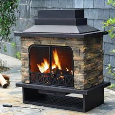 Sunjoy, Huntsville 42 in. x 24 in. Steel Faux Stone Outdoor Fireplace, L-OF079PST-1 at The Home Depot - Mobile