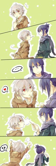 No. 6 ~~ Pocky kiss? Denied!! :: Nezumi x Shion [ fanart by Ice[ry]meko ]