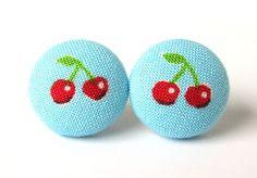 Cherry button earrings studs spring kawaii cute blue red. €9.00, via Etsy.