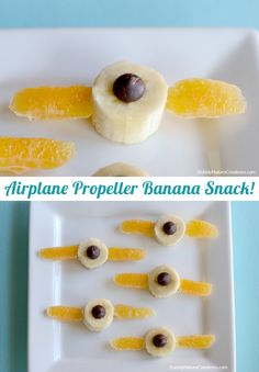 Airplane Propeller Kids' Banana Snack with Banana chunk, a dark chocolate chip, and clementine slices. Cute and easy~ Great for the movie Planes or learning about airplanes!