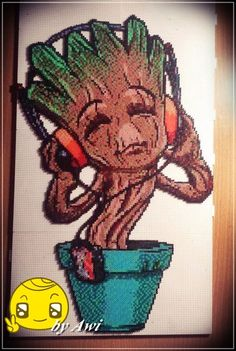 Baby Groot (Guardians of the Galaxy) perler bead art by Awi87