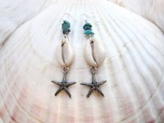 Starfish. Turquoise. Cowrie Shell Earrings. Sea by VictoryJewelry, $30.00