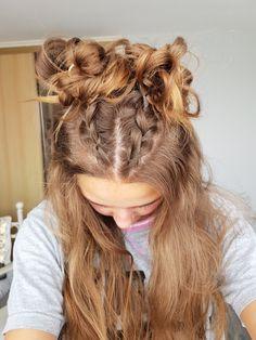 Cute buns, dutch braid, space buns, half up half down hairstyle, back to school Curly Half Up Half Down, Dutch Braid Half Up, French Braid Buns, French Braid Styles, Two French Braids, Braided Half Up, Dutch Braids, Braided Updo, French Braid Hairstyles
