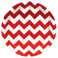 Chevron Red Dinner Plates, Pack of 8
