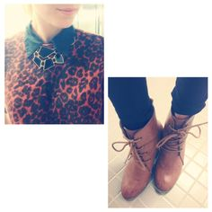 #ootd express sweater (thrifted) statement necklace and my favorite booties :)