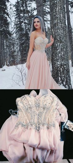 Sweetheart Prom Dresses,Beaded Prom Dress,Pink Prom Dresses,Long Prom Dress,Chiffon Prom Dress #chiffon #pink #beading #sweetheart #long #prom #dress #okdresses
