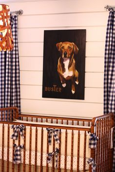 Cool leather basket used as chandelier and custom dog artwork via Smitten Designs