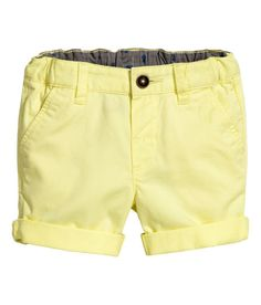 Check this out! Shorts in soft, washed cotton twill with an adjustable elasticized waistband, zip fly with button, side pockets, and mock welt back pocket. - Visit hm.com to see more.
