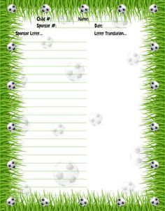 free soccer stationery for sponsored kids