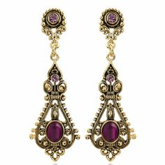 Gold Burgundy Opal Vintage Victorian Fashion Ball Earrings Jewelry SKU-10803482