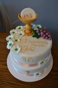 a First Communion Cakes, First Communion Dresses, Christian Cakes, Champagne Wedding Cakes, Farewell Cake, Wilton Icing, Religious Cakes, Fondant Cakes, Kingston