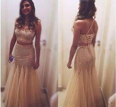 Pd61016 Charming Prom Dress,2 Pieces Prom Dress,Spaghetti Straps Prom Dress,Beading Evening Dress