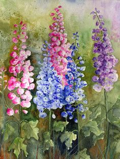 Delphiniums - Watercolor painting by Yvonne Harry