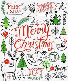 Margaret Berg Art: Nordic Christmas Black Line Lettering