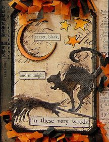 Halloween tag with Tim Holtz die cuts Halloween Shadow Box, Halloween Tags, Fall Halloween, Halloween Paper Crafts, Halloween Projects, Halloween Designs, Atc Cards, Card Tags, Tim Holtz