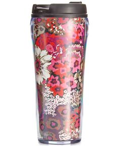 "Haute style meets hot drink. Keep your beverages warm & toasty (or icy cold) in this pretty insulated travel mug from Vera Bradley. | Imported | Holds 16 oz. | Plastic | Dimensions: 8"" H x 3-1/4"" W 