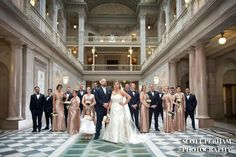 My Wedding! Rose Gold Sequin Dresses and Navy Blue Tux's... Photo taken at City Hall in Hartford. Photo credit to Scott Perham Photography