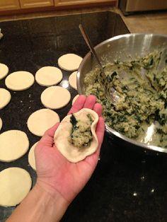 Garlic Spinach Pierogies | Russet Potatoes, Water, Oil, Garlic, Spinach, Dried Dill, Black Pepper, Nutmeg, Yeast, Salt, Applesauce