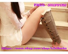 FREE SHIPPING Black Womens Lace Legwarmers Lady's Lace Boot Toppers Lace Boot Socks Open Weave Button Down Lace Legwarmers Cotton No1114