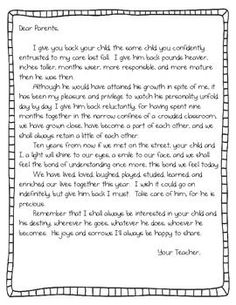 end of the year parent letter teacherspayteacherscom