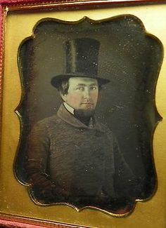 Spectacular ninth plate originally sealed daguerreotype of man in top hat