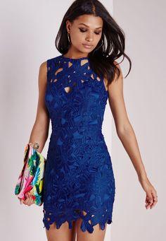 Crochet Bodycon Dress Cobalt Blue - Dresses - Bodycon Dresses - Missguided