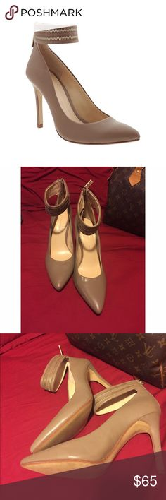 Banana republic deep chestnut pumps 👠 New never worn only tried on in store, tan pumps with gold zipper ankle strap detailing. No box Banana Republic Shoes Heels