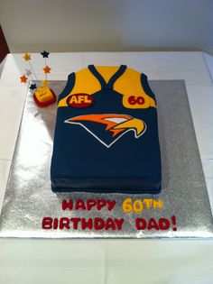 Wayne's 60th birthday cake. Mad west coast supporter! Afl west coast eagles 19th Birthday Cakes, 60th Birthday, Birthday Ideas, Happy Birthday, Football Cake Design, Football Cakes, West Coast Eagles, My Sweet Sister, Family Events