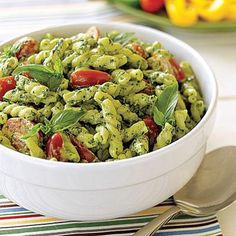This pesto pasta salad makes a delicious side for a weeknight dinner.