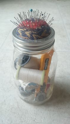 The mason jar sewing kit that I made.