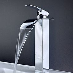 Contemporary Brass Waterfall Bathroom Sink Faucet (Tall) - FaucetSuperDeal.com