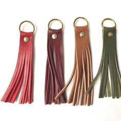 Raise your hand if your leather scrap pile is getting out of control. 🙋‍♀… Raise your hand if your leather scrap pile is getting out. Leather Tassel Keychain, Leather Earrings, Leather Jewelry, Leather Purses, Diy Leather Projects, Diy Leather Gifts, Leather Crafting, Leather Bags Handmade, Leather Scraps