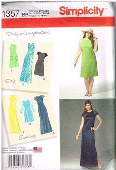 Simplicity 1357, Home Sewing Pattern, Women's Dress,  Size 20W-28W, Plus Size