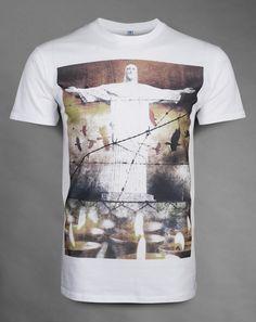 Redemption  - White unisex semi-fitted t-shirt - Soft handle print - 100% super-soft ringspun cotton £24.95   http://www.deadmouseofficial.com/spring-summer-2013/unisex/redemption.html