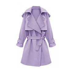 Womens Plus Size Turndown Collar Slimming Trench Coat Purple ($60) ❤ liked on Polyvore featuring outerwear, coats, womens plus size coats, slim fit coat, slim trench coat, plus size coats and collar coat