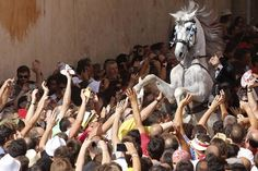 A rider rears up on his horse while surrounded by a cheering crowd during the traditional Fiesta of San Joan (Saint John) in downtown Ciutadella, on the Spanish Balearic Island of Menorca, June 23, 2014. The riders of the horses are representatives of ancient Ciutadella society – nobility, clergy, craftsmen and farmers. (Photo by Enrique Calvo/Reuters)