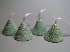 Sweet Little Ceramic Bell in Light Turquoise. $15.00, via Etsy.