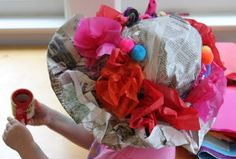 fun newspaper hats- good last day of art center project!  I think April's girls did this with butcher paper for mother's day!