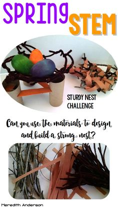 Spring STEM challenges -Sturdy Nest challenge. Can you use the materials to design and build a nest strong enough to support the weight of the eggs?   Meredith Anderson STEM Challenges