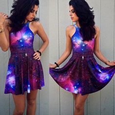 Our beautiful and comfortable galaxy dresses are now available. The Galaxy print on this dress is from a NASA photo. Dress is reversible, can be worn scoop-front or racer-front. See image. Composition