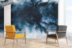 """Cara Saven Wall Design on Instagram: """"Whether you live in a city apartment or in a beach cottage, an abstract blue ART EFFECTS wallpaper is always a winner. This design is aptly…"""" Blue Art, Beach Cottages, Wall Design, House Ideas, New Homes, Abstract, Live, Wallpaper, Painting"""
