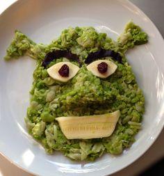 SHREK INGREDIENTS: Head: Fava Beans Eyes/Mouth: Zucchini Eyeballs: Raisins Brows: Dark Red Leaf Lettuce