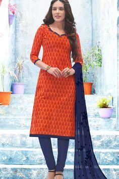 Orange & Purple Cotton UnStitch Suit With Embroidered Dupatta