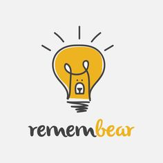Remembear logo design created by combining a bear and a lightbulb. | Hand Drawn Logo, Cute Bear Illustration, Fun Lightbulb, Inspiring Idea, Bright Light, Help Remember, Whimsical Animal, Logo Design, Graphic Design, Graphic Designer
