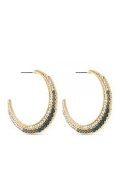 Jessica Simpson  Gold-Tone Crescent Moon Hoop Earrings