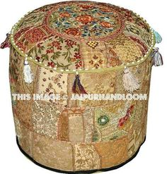 Indian Patchwork Embroidered Outdoor Pouf #indianpouf #patchworkpouf #pouf #ottoman #ikeapouf #footstool #chair #floorcushion #embroideredpouf #handmadepouf #pouffe #outdoorfurniture #patiofurniture Ottoman Footstool, Round Ottoman, Ottomans, Tapestry Bedding, Wall Tapestries, Bean Bag Bed, Round Floor Pillow, Outdoor Pouf, Indian Crafts