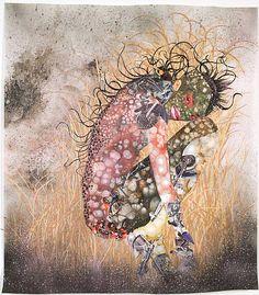 "Hide n' Seek, Kill or Speak - Wangechi Mutu 2004. Paint, ink, collage and mixed media on Mylar. 48""x42""."