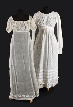 The dress on the right is a sprigged cotton gown from early 1820s, The waistline is lowering, the neckline is higher and frills around hem. Bonhams.