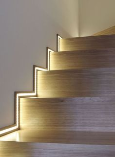We think the use of LED tape light as stair lighting is always a great idea. - - We think the use of LED tape light as stair lighting is always a great idea. This idea is particularly unique way of accent lighting stairs. Stairway Lighting, Home Lighting, Lighting Design, Lights For Stairs, Strip Lighting, Unique Lighting, Pendant Lighting, Accent Lighting, Wall Lighting