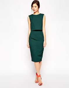 Image 1 ofASOS Pencil Dress with Shell Top in Texture